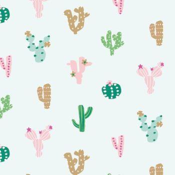 Ocean Drive Cactus Tropical Metallic Gold Cacti Succulent Plants Miami Florida Cotton Fabric