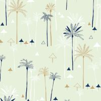 Ocean Drive Palm Trees Tropical Metallic Gold Beach Umbrella Miami Florida Cotton Fabric