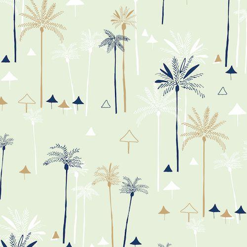 Ocean Drive Palm Trees Tropical Metallic Gold Beach Umbrella Miami Florida