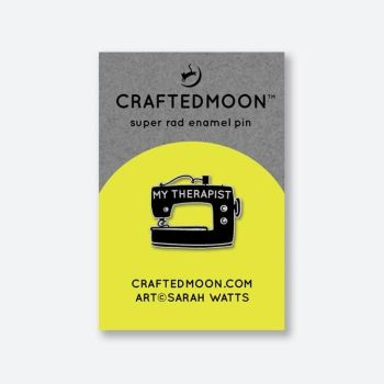 PRE-ORDER Crafted Moon Sewing Is My Therapist Enamel Pin Sarah Watts Sewing Machine Therapy