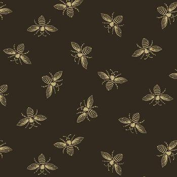 Riviera Rose Bees Honey Bee Black Renee Nanneman Cotton Fabric