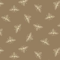 Riviera Rose Bees Honey Bee Tan Renee Nanneman Cotton Fabric