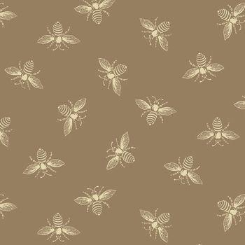 Riviera Rose Bees Honey Bee Tan Renee Nanneman Cotton Fabric