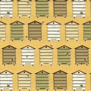 Bee a Keeper Bee Hives Boxes Beekeeper Bees Hive Cotton Fabric