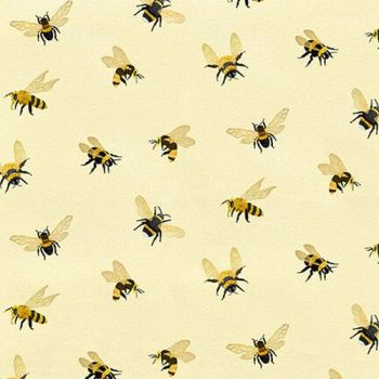 Bee a Keeper Allover Bees Cream Honey Bee Bumblebee Beekeeper Bees Cotton Fabric