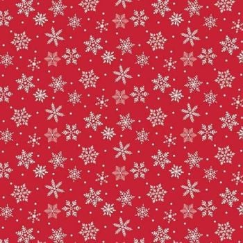 Merry & Bright Snowflakes Red Snowflake Christmas Snow Holiday Winter Cotton Fabric