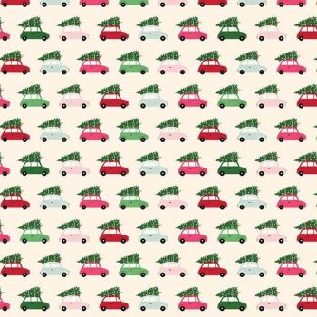 Merry & Bright Cars Cream Christmas Trees Delivery Holiday Winter Cotton Fabric