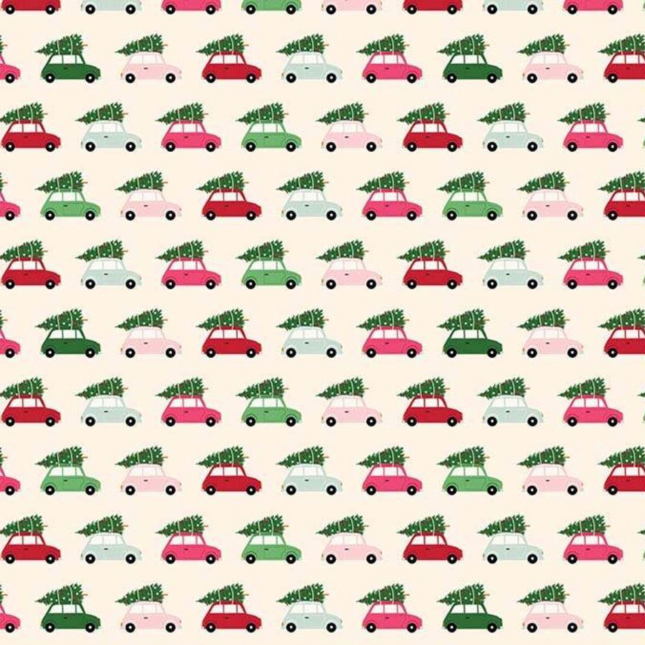 Merry & Bright Cars Cream Christmas Trees Delivery Holiday Winter Cotton Fa