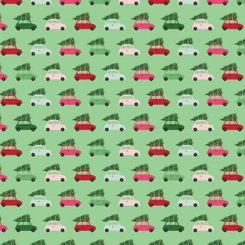Merry & Bright Cars Green Christmas Trees Delivery Holiday Winter Cotton Fabric