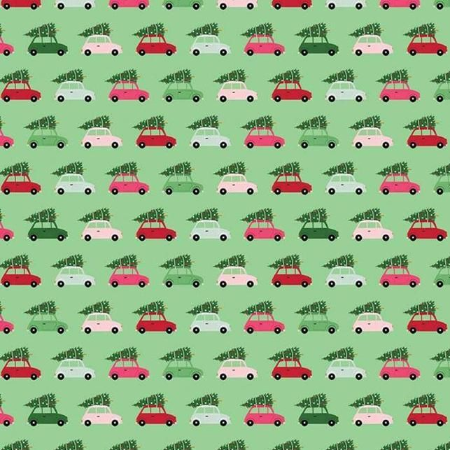 Merry & Bright Cars Green Christmas Trees Delivery Holiday Winter Cotton Fa