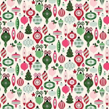 Merry & Bright Ornaments Cream Christmas Baubles Decorations Holiday Winter Cotton Fabric