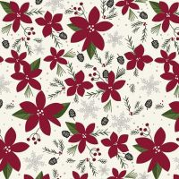 Winterberry Main Cream Red Poinsettia Floral Christmas Holiday Winter Cotton Fabric