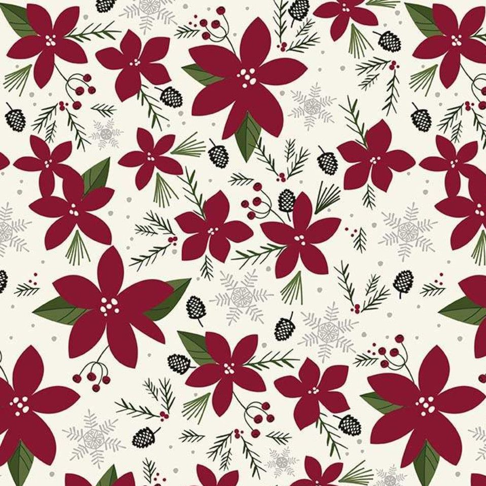 Winterberry Main Cream Red Poinsettia Floral Christmas Holiday Winter Cotto