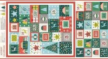 Advent Calendar Christmas DIY Panel Merry Christmas Festive Project Cotton Fabric by Makower per panel