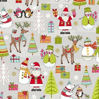 Festive 2019 Scene Reindeer Trees Snowman Christmas Gifts Cotton Fabric by Makower