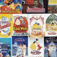 EXCLUSIVE Disney Classics Awaken to a World of Wonders Princess Movie Film Posters Cotton Fabric