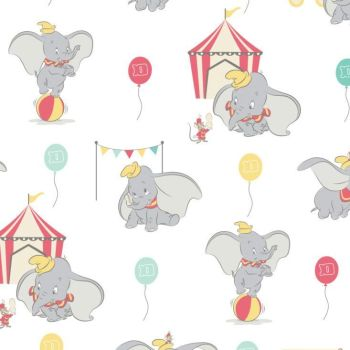 Disney Classics Dumbo In The Circus Tent White Fun Baby Elephant Nursery DELUXE Cotton Fabric