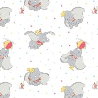 Disney Classics Dumbo Tossed Stars White Fun Baby Elephant Nursery DELUXE Cotton Fabric