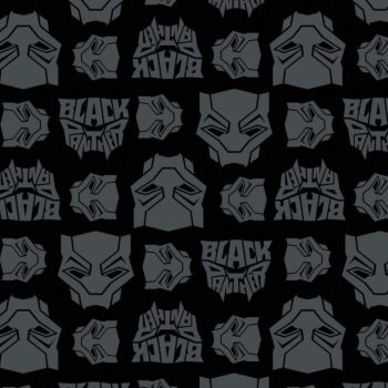 Marvel Black Panther Logo Toss Heads Faces Grey Black Comic Movie Superhero Comic Books Heroes Cotton Fabric