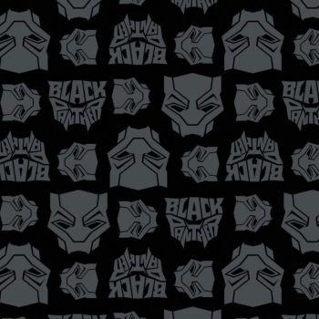 Marvel Black Panther Logo Toss Heads Faces Grey Black Comic Movie Superhero Comic Books Heroes Cotton Fabric