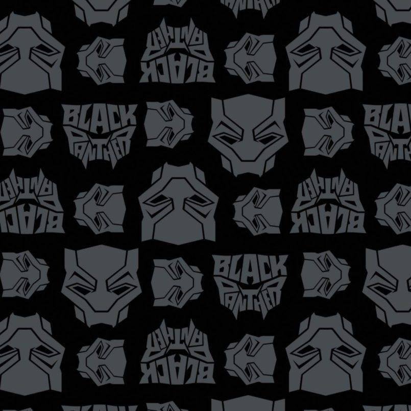 Marvel Black Panther Logo Toss Heads Faces Grey Black Comic Movie Superhero