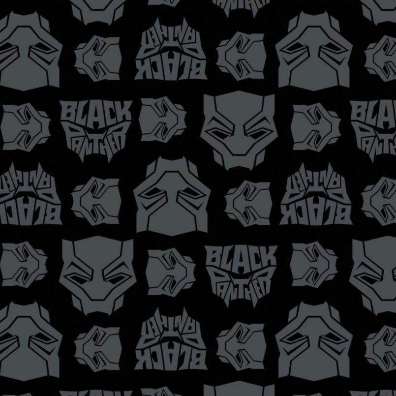 Marvel Black Panther Logo Toss Heads Faces Grey Black Comic Movie Superhero