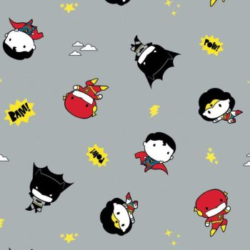 DC Superheroes In the Making Tiny Heroes Grey Kawaii Justice League Superhero Cotton Fabric