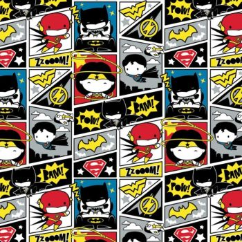 DC Superheroes In the Making Comic Blocks Kawaii Justice League Superhero Cotton Fabric