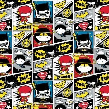 DC Superheroes In the Making Comic Blocks Kawaii Justice League Superhero Cotton Fabric