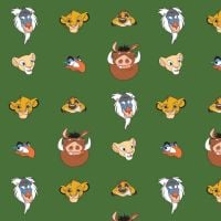 Disney The Lion King Character Heads Green Simba Nala Timon Pumba Zazu Rafiki Cotton Fabric