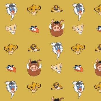 Disney The Lion King Character Heads Gold Yellow Simba Nala Timon Pumba Zazu Rafiki Cotton Fabric