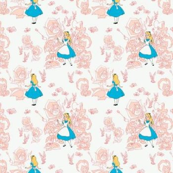 Disney Classics Golden Afternoon Flowers Blush Alice in Wonderland Lewis Carroll Character Cotton Fabric