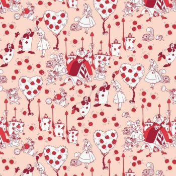 Disney Classics Painting the Roses Red Blush Alice in Wonderland Lewis Carroll Character Cotton Fabric