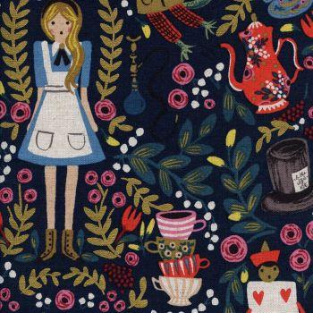 RARE Rifle Paper Co. Wonderland Alice in Wonderland on Navy with Metallic Gold Cotton Linen Canvas Fabric