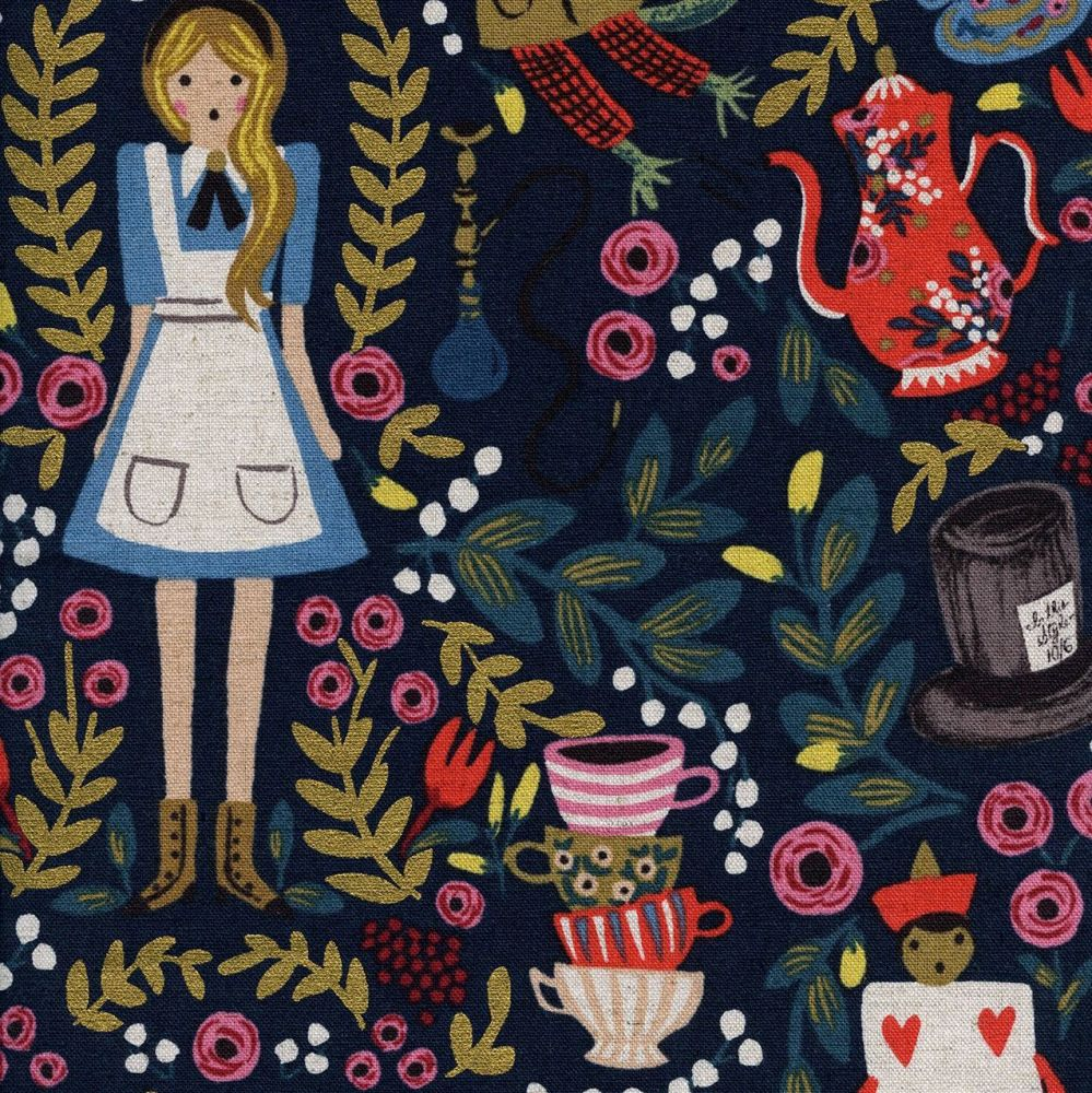 RARE Rifle Paper Co. Wonderland Alice in Wonderland on Navy with Metallic G