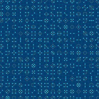 Declassified Cipher Tanzanite Dark Blue Symbol Linear Geometric Lines Blender Giucy Giuce Cotton Fabric