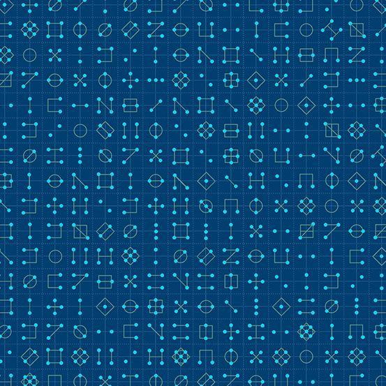 Declassified Cipher Tanzanite Dark Blue Symbol Linear Geometric Lines Blend