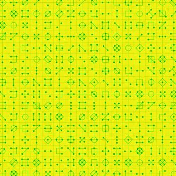 Declassified Cipher Radioactive Neon Symbol Linear Geometric Lines Blender Giucy Giuce Cotton Fabric