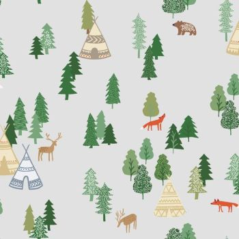 May Forest Be With You Campsite Star Fox Deer Bear Animal Camping Scenic Woodland Trees Dear Stella Cotton Fabric
