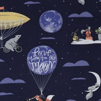 Love You To The Moon Navy Night Sky Balloon Animal Scenic Fox Raccoon Squirrel Dear Stella Cotton Fabric
