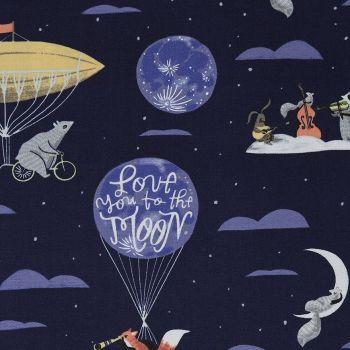 Love You To The Moon Navy Night Sky Balloon Animal Scenic Fox Raccoon Squirrel Dear Stella Cotton Fabric