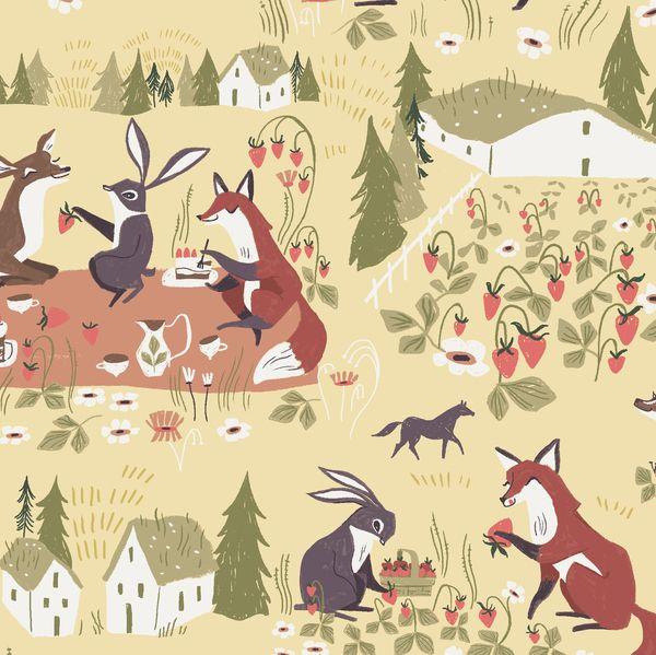 Strawberry Fields in Cornsilk Picnic Animal Scenic Woodland Fox Deer Rabbit
