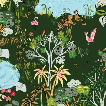Lion Around Jungle Life Ivy Green Trees Tropical Flamingo Tiger Lion Elephant Oasis Travel Adventure Dear Stella Cotton Fabric