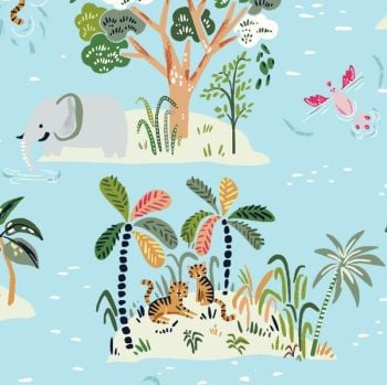 Lion Around Island Life Reef Trees Tropical Flamingo Tiger Lion Elephant Oasis Travel Adventure Dear Stella Cotton Fabric