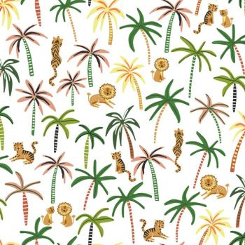 Lion Around White Trees Tropical Tiger Lion Oasis Travel Adventure Dear Stella Cotton Fabric