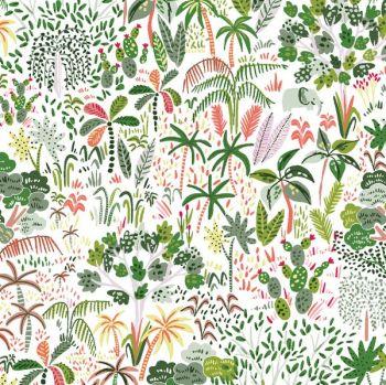 Lion Around Rainforest White Trees Tropical Cactus Oasis Travel Adventure Dear Stella Cotton Fabric