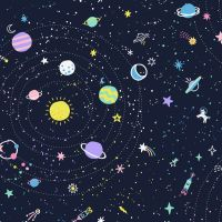 Space Magic Lost In Space Navy Planet Rocket Dear Stella Cotton Fabric