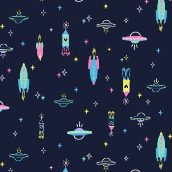 Space Magic Spaceships Rockets Stars Navy Rocket Dear Stella Cotton Fabric