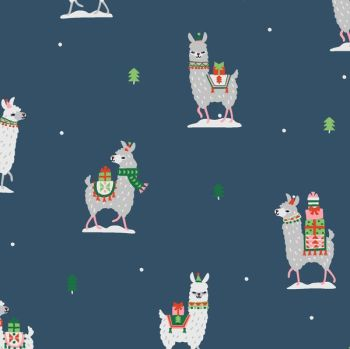 Fa La La Llamas Llama Gifts Orion Christmas Festive Holiday Dear Stella Cotton Fabric