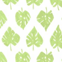 Pink Paradise Palm Leaves White Tropical Cheese Plant Leaf Botanical Dear Stella Cotton Fabric
